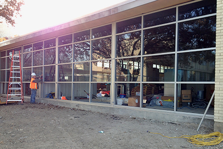 Construction crews are busy finishing out the renovation of Dora's Dining Hall, which is scheduled to reopen when students return to campus in January.