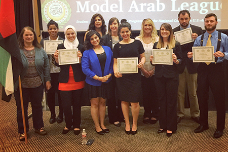 Texas Wesleyan's Model Arab League team received top honors while representing the United Arab Emirates at the regional conference in Commerce, Texas.