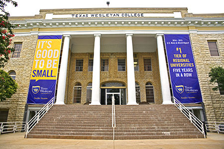 Photo of the Administration building at Texas Wesleyan University.