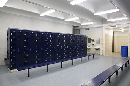 During the winter break, crews painted ceilings, walls and lockers, and upgraded electrical and lighting features in both the men's and women's locker rooms.