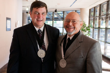 Dr. Tim Bittenbinder, left, and Ricardo Rodriguez, Ph.D., were both inducted to the McLennan Community College Hall of Fame as part of the college's 50th anniversary celebration. Bittenbinder, an anesthesiologist, occasionally speaks to Dr. Rodriguez's DNAP students. Photo credit: Eric Guel