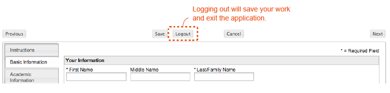 "This is what happens when you click ""logout"" in your application. It saves your work and exits the application."