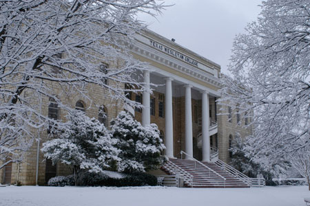 Oneal-Sells Administration building covered in snow