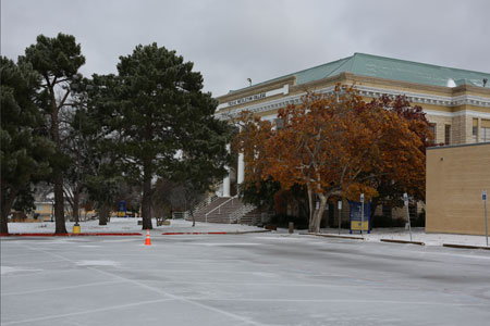 Ice covers the parking lot outside the Oneal-Sells Administration Building.