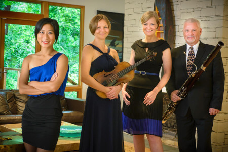 Image of the four performers in the Hall Ensemble: Karen Hall, Kevin Hall, Jennifer Chang, Aleksandra Holowka